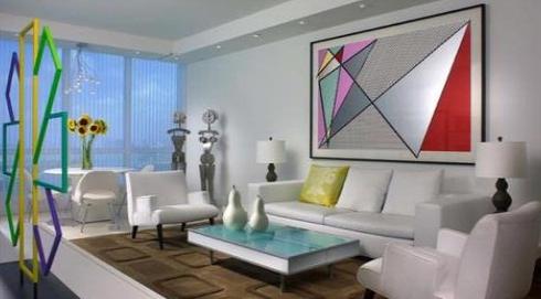 living room white color design